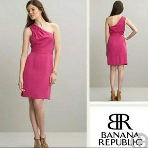 Banana Republic pink one shoulder dress